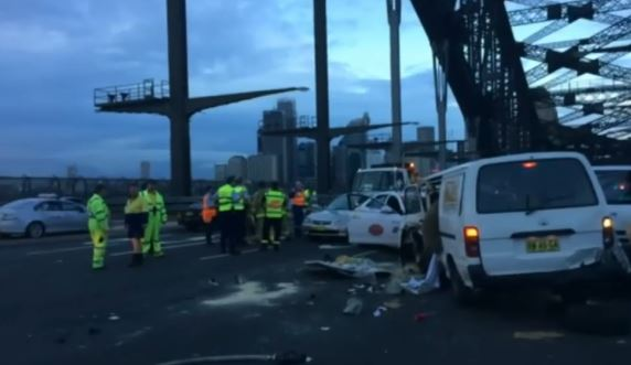 A woman allegedly fell asleep at the wheel causing a five-car pile up on the Sydney Harbour Bridge on Wednesday morning.  Read more at http://www.9news.com.au/national/2015/02/25/17/47/sleepy-driver-causes-five-car-pile-up-on-harbour-bridge